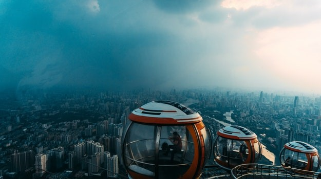 Ariel view of city in cable car